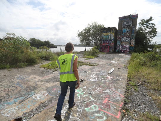 Jocelyn Gabrynowicz Hill walks the Port Richmond rail