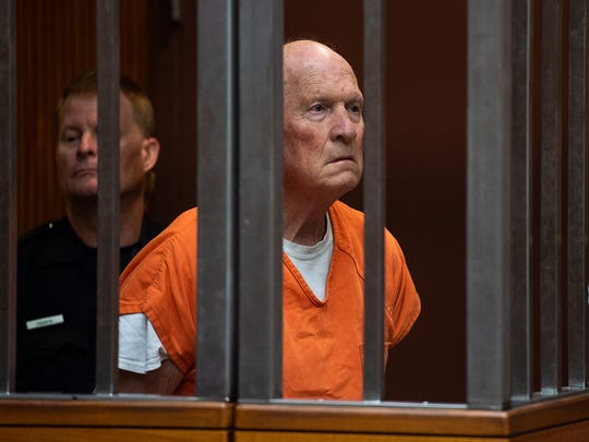 Joseph James DeAngelo stands in a Sacramento jail court on May 29, 2018, as a judge weighed how much information to release about the arrest of the former police officer accused of being the Golden State Killer. He is suspected in at least a dozen killings, including those of Lyman and Charlene Smith in Ventura.