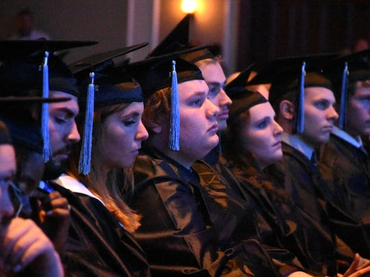 Graduating seniors listen to the speakers. Marco Island Academy graduated its 2018 senior class Friday evening in a ceremony at the Family Church.