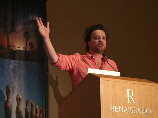 "George Tsoukalos host of ""Ancient Aliens"" speaks at Contact in the Desert in Indian Wells, Calif., Sunday, June 3, 2018."