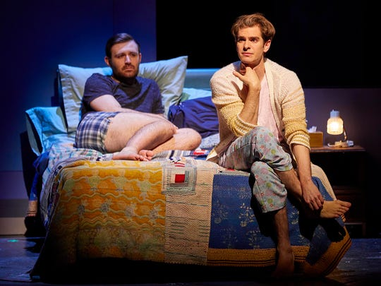"James McArdle, left, and Andrew Garfield in ""Angels in America: Millennium Approaches."""