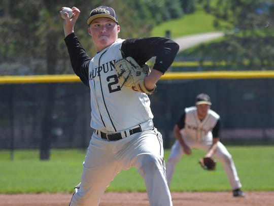 Waupun pitcher Brenden Bille delivers a pitch during a WIAA Division 2 sectional baseball game against Ripon last week.