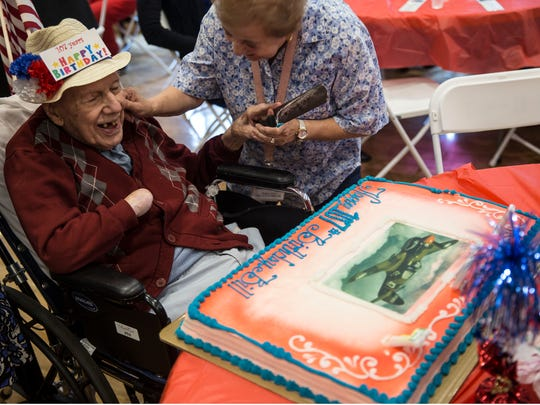 World War II veteran and Flying Tiger Bill Laun of Manchester, is honored with a party for turning 107 years old. Manchester, NJFriday, June 8, 2018@dhoodhood