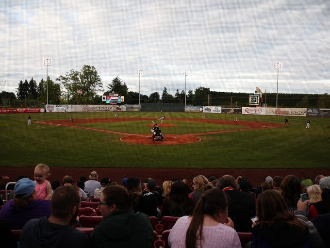 Fans watch their team during the Salem-Keizer Volcanoes