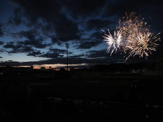 Fireworks following the Salem-Keizer Volcanoes season opener as they faced the Tri-City Dust Devils at Volcanoes Field in Keizer Friday night, June 15, 2018. The Volcanoes went on to win their game. (KELLY JORDAN / Statesman Journal)