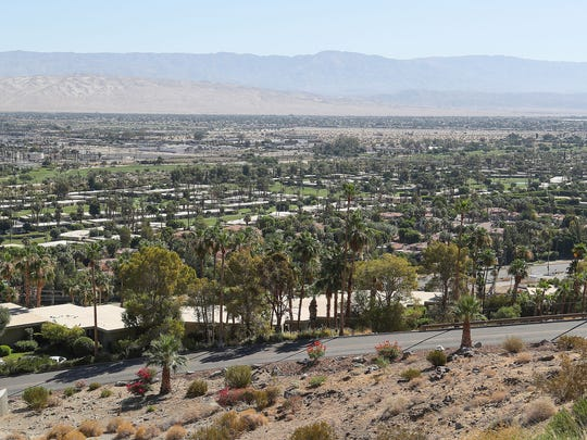 A view of Southridge Drive in Palm Springs. The street, which is home to a number of ritzy properties, is at the center of a lawsuit filed in June 2018.