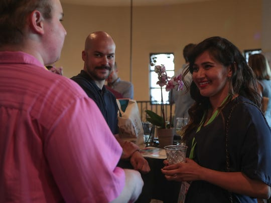 Festival Director Liliana Rodriguez talks with filmmakers at the 2018 Palm Springs International ShortFest opening night, Palm Springs, Calif., Tuesday, June 19, 2018.