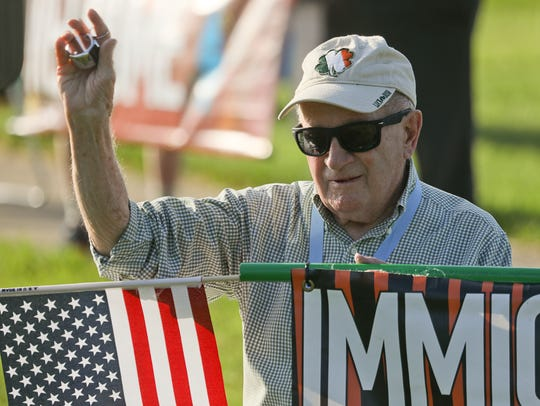 Rev. Jim Flynn, protesting U.S. immigration practices,