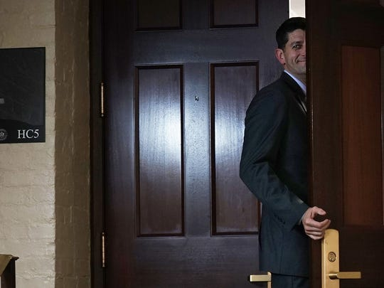 Speaker of the House Rep. Paul Ryan, R-Wis., returns to the room after a short break during a House Republican closed-door meeting on immigration June 21, 2018, at the U.S. Capitol in Washington, D.C.