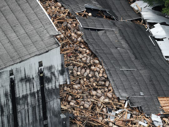 A partially-collapsed bourbon warehouse at the Barton
