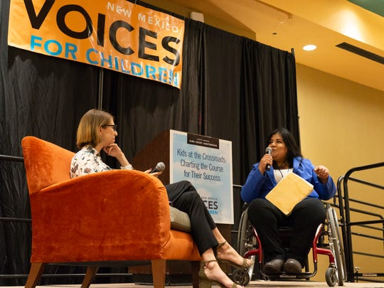 Searchlight New Mexico reporter Lauren Villagran interviews Diana Murillo-Trujillo, mayor of Anthony, New Mexico, on June 25, 2018 at New Mexico Voices for Children's annual Kids Count Conference in Albuquerque.
