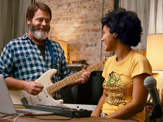 "Kiersey Clemons, a Pensacola native, and Nick Offerman in Brett Haley's latest film ""Hearts Beat Loud."""