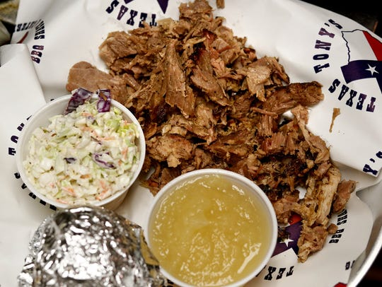 Pulled pork with cole slaw and apple sauce ready to