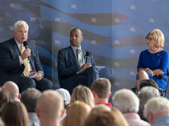 American Conservative Union Foundation chairman Matt Schlapp, Secretary Ben Carson and Congressman Diane Black participate in a panel discussion following Secretary Carson's speech.