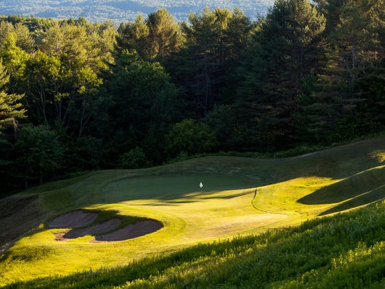 The 14th green as seen from the tee box at the Country Club of Vermont in Waterbury, site of the 2018 Vermont Amateur.