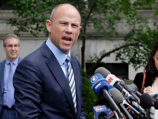 In this May 30, 2018, file photo, Michael Avenatti, attorney for porn actress Stormy Daniels, talks to the media after a federal court hearing in New York.