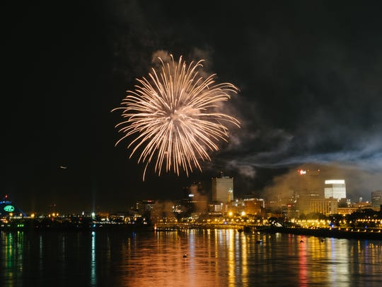 Independence Day fireworks Downtown, as seen from Big River Crossing,