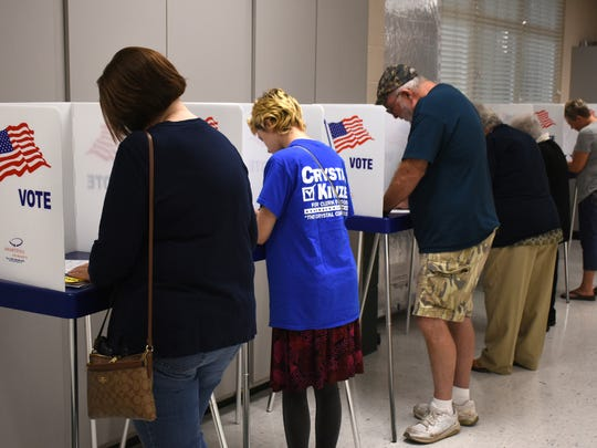 Participants cast their nonbinding ballots in the straw poll. One of Southwest Florida's largest candidate forums featuring a straw ballot vote, the Golden Gate Candidate Forum was held on Monday, July 9, 2018 at the Golden Gate Community Center, hosted by the Golden Gate Area Civic Association and the NAACP of Collier County.
