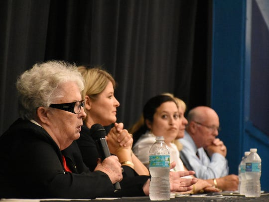 School board candidate Kathy Ryan speaks during the panel discussion. One of Southwest Florida's largest candidate forums featuring a straw ballot vote, the Golden Gate Candidate Forum was held on Monday, July 9, 2018 at the Golden Gate Community Center, hosted by the Golden Gate Area Civic Association and the NAACP of Collier County.