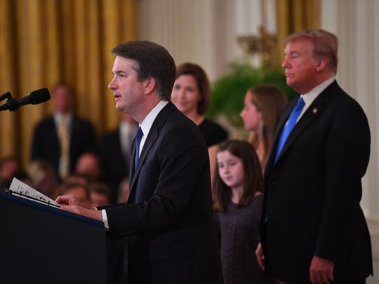 At the White House, Brett Kavanaugh speaks after being nominated by President Donald Trump for the Supreme Court of the United States.