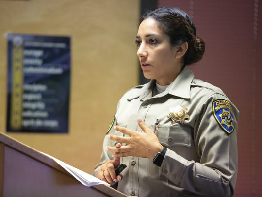 California High Patrol Public Information Officer Jacquelene Quintero teaches a class at the Indio CHP station on safe and smart driving practices for teens, July 12, 2018.