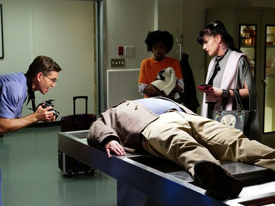 "Reasonover, center, made her first ""NCIS"" appearance"