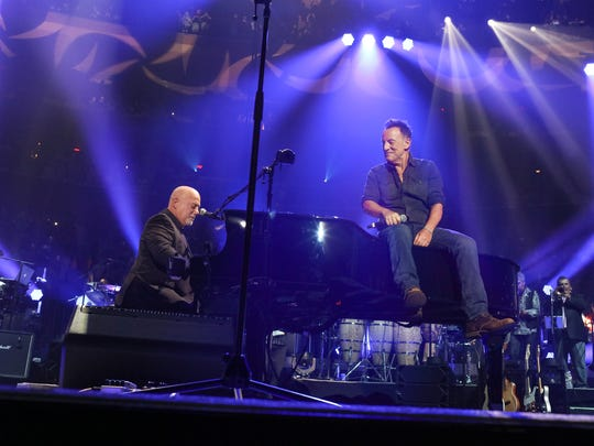 "Billy Joel and Bruce Springsteen perform ""10th Avenue, Freeze Out"" and ""Born to Run"" on stage at Billy Joel's 100th Lifetime Performance at Madison Square Garden on July 18, 2018 in New York City."