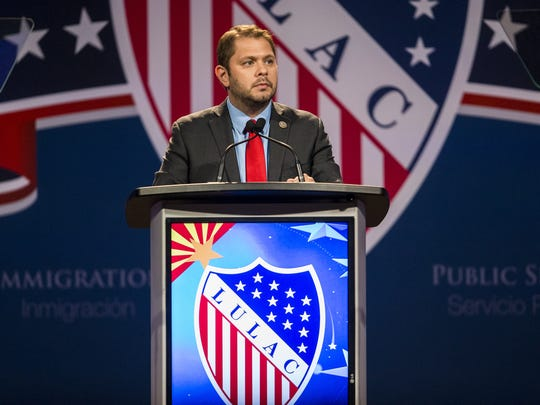 Congressman Ruben Gallego speaks during the League of United Latin American Citizens Presidential Awards Banquet on July 20, 2018, at the Phoenix Convention Center in Phoenix.