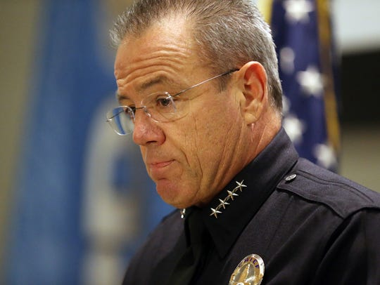 Los Angeles Police Chief Michel Moore speaks at a news