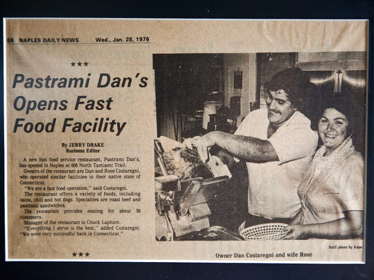 An article from the Naples Daily News in 1976 announcing the opening of Pastrami Dan's hangs in the Naples restaurant on Tuesday, Nov. 10, 2015.