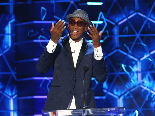 Dennis Rodman had a few false starts while trying to make jokes at the Comedy Central event. First there were problems with his mike; then he had trouble reading his teleprompter.