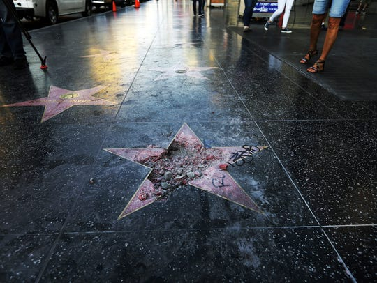 This photo shows Donald Trump's star on the Hollywood