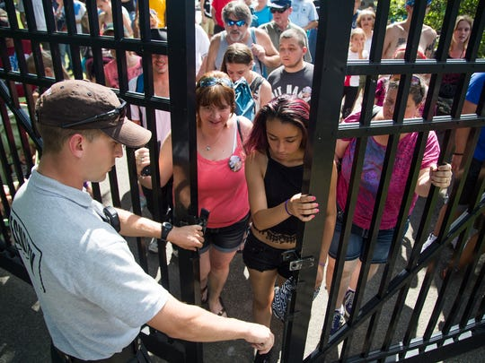 2015: The gates at the entrance of Otsiningo Park opened just after 3 p.m. marking the official beginning of Spiedie Fest 2015.