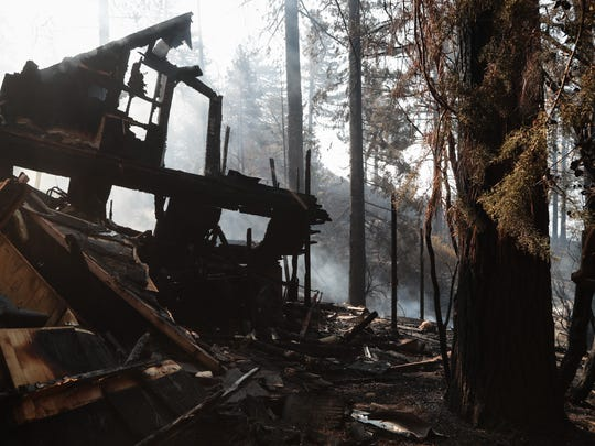 A home on Deerfoot Lane was burned in the Cranston Fire, Idyllwild, Calif., Thursday, July 26, 2018.