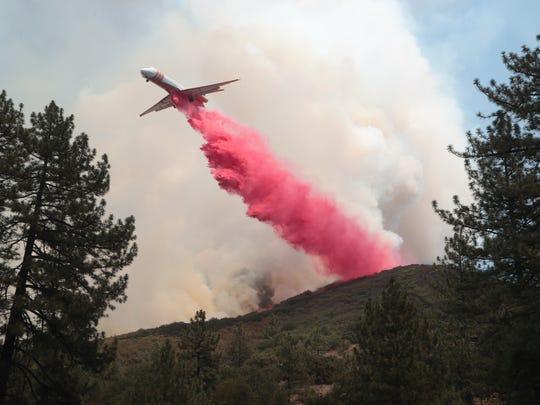 The Cranston Fire burns near Highway 74 between Mountain Center and Lake Hemet, Thursday, July 26, 2018.