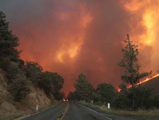 This file photo shows the Cranston Fire off Highway 74, between Mountain Center and Lake Hemet, on July 26, 2018.