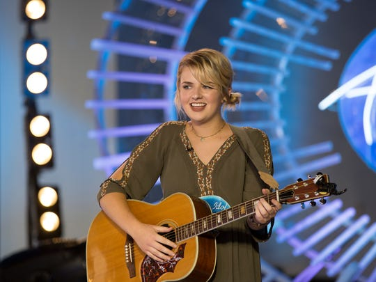"Maddie Poppe performs on ""American Idol."" She would"