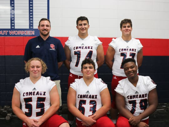 The balance on Comeaux's offensive line is expected to bring consistency to the Spartans' new running game. The group, coached by Austin Touchet, includes Donald Paul (74), Colby Sonnier (77), Landon Rabeaux (55), Collin Haywood (63) and Cortland Trailer (79).
