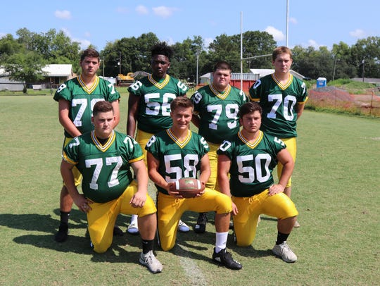 Cecilia High's offensive linemen of Brandon Sonnier (78), Dakeylon Noel (56), John Huval (79), Devin Hardy (70), Michael Bergeron (77), Ian Ruddock (58) and Peyton Richard (50) will be looking to come together quickly this fall.