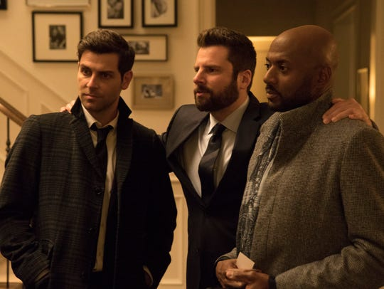 David Giuntoli as Eddie, James Roday as Gary and Romany