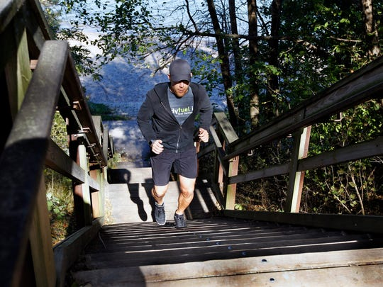Eric Gramza, owner and personal trainer at Bodyfuel inc., gets you ready for winter training with a combination series that includes stair climbing, mountain climbers and reverse lunges at a park in Bay View.