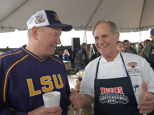 Chef John Folse greets gumbo fans at the 2018 Independence