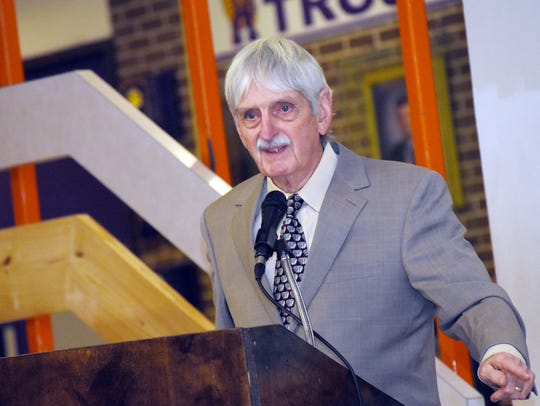 The swimming pool at Alexandria Senior High School was renamed the Coach Wally Fall Nanitorium on Monday.
