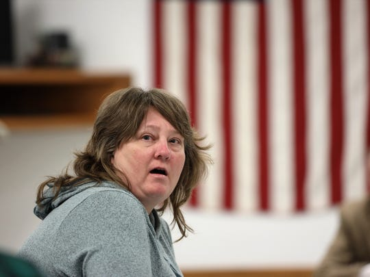 "Linda Bender, a resident of the town of Jefferson, Wis., tells other town residents there is ""no evidence"" that wind turbines cause health problems at a Feb. 28, 2019, Jefferson Town Board meeting to discuss a proposed wind project. Bender and her husband Tim, have an agreement to receive a payment for having a property neighboring the planned turbines. They were the only people to speak in support of the project at the heated meeting."