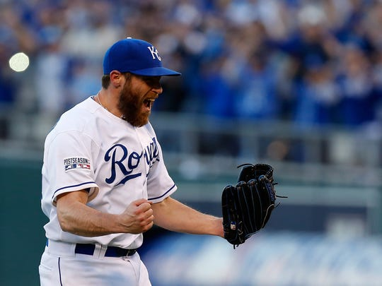 KANSAS CITY, MO - OCTOBER 15:  Greg Holland #56 of the Kansas City Royals celebrates their 2 to 1 win over Baltimore Orioles to sweep the series of Game Four of the American League Championship Series at Kauffman Stadium on October 15, 2014 in Kansas City, Missouri.  (Photo by Ed Zurga/Getty Images)