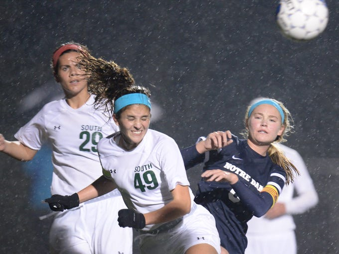 South Oldham's Samantha Reynolds heads the ball during
