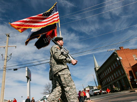 Staunton honors active military and veterans in its annual Veterans Day parade on Saturday, Nov. 8, 2014.