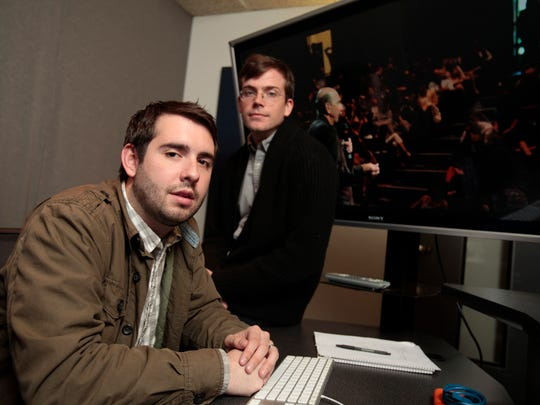 Sean Gallagher and friend Justin Drobinski are photographed in an editing suite at the Jacob Burns Media Arts Lab in Pleasantville. Gallagher made a documentary film about Justin Veatch, a Yorktown High student and musician who died of a heroin overdose in 2008 and his family following his death. On Nov. 2, documentary titled Whispering Spirits will be screened at Jacob Burns.