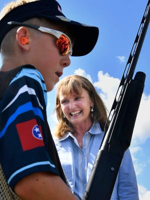 House Speaker Beth Harwell makes a campaign appearance at the Nashville Gun Club during the Scholastic Clay Target Program competition Thursday, June 21, 2018.