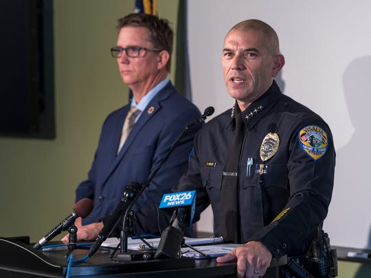 Visalia Police Chief Jason Salazar, right, and Tulare County District Attorney Tim Ward announce murder charges filed Monday, August 13, 2018 in Visalia, Calif. against Joseph James DeAngelo for the shooting of Claude Snelling in 1975. Investigators believe the Visalia murder was the first for the alleged Golden State Killer also known as the Visalia Ransacker. He has already been charged with 12 other murders.